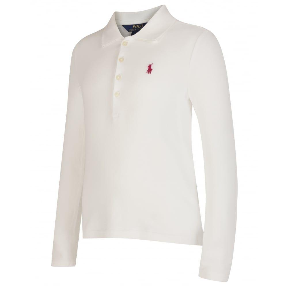 Girls Sleeve White Shirt Polo Lauren Ralph Long A5q34jRL