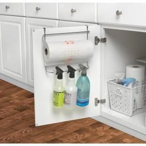 Spectrum Duo 10.5 in. x 12 in. x 5.75 in. Over the Cabinet Dual Towel Bar and Bottle Organizer in Chrome-85270 - The Home Depot