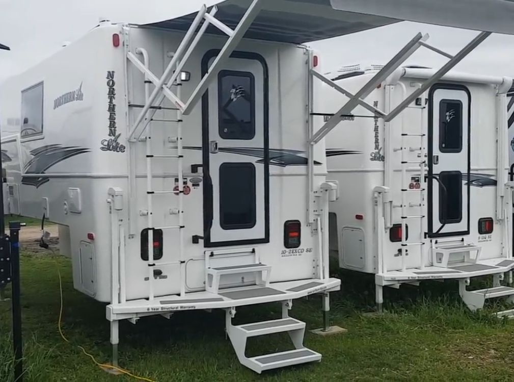 Canopy \/ awning style.  Truck camper, Recreational vehicles, Door accessories