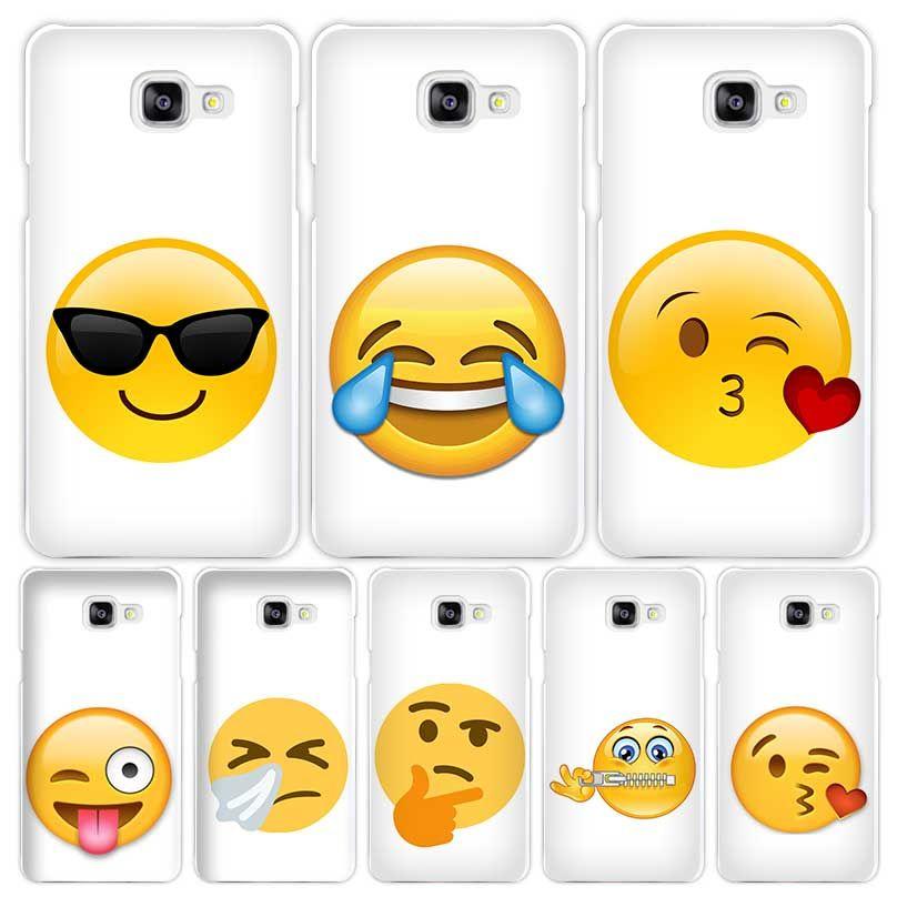Emoji Funny Hard White Coque Shell Case Cover Phone Cases For Samsung Galaxy A3 A5 A7 2016 2017 A8 A9 Coque De Telephone Coque Iphone