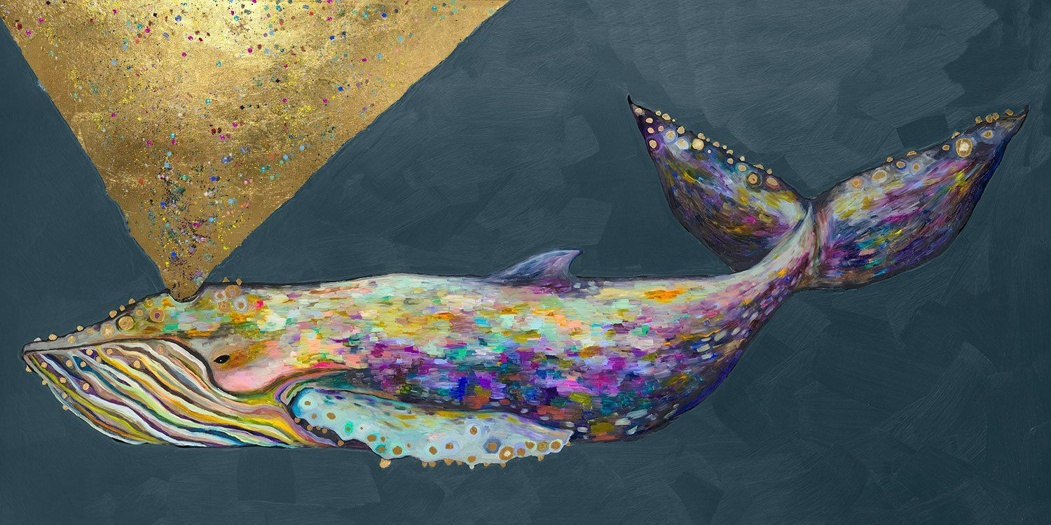 Jeweled Whale Spray Blue Fog Painting Print On Wrapped Canvas Fine Art Giclee Prints Panoramic Print Canvas Wall Art