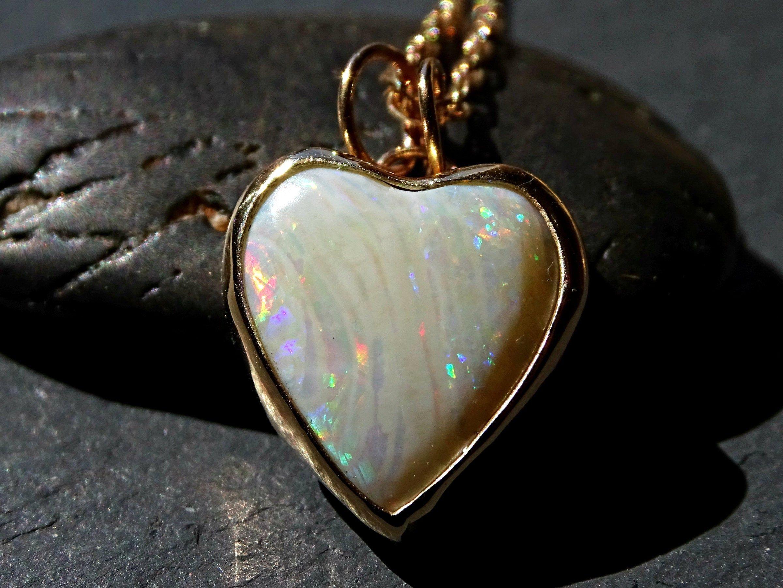 Dainty opal heart pendant gold opal necklace Australian