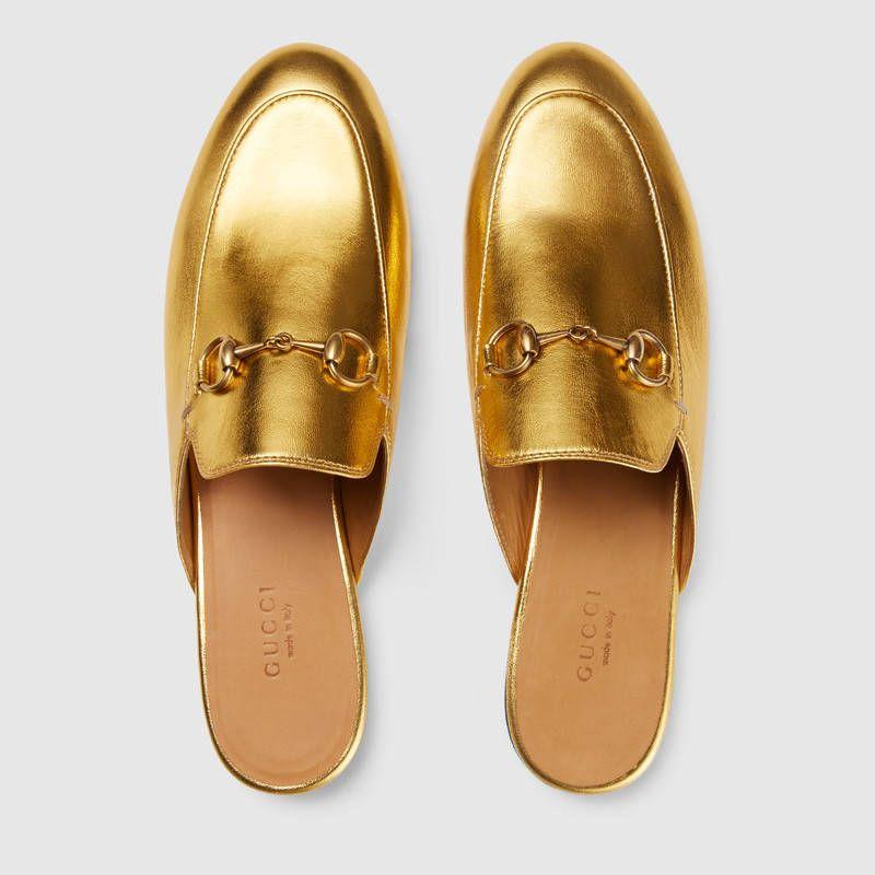 5b87b5b3f Gucci Princetown metallic leather slipper Detail 3 Leather Slippers, Leather  Shoes, Velvet Slippers,