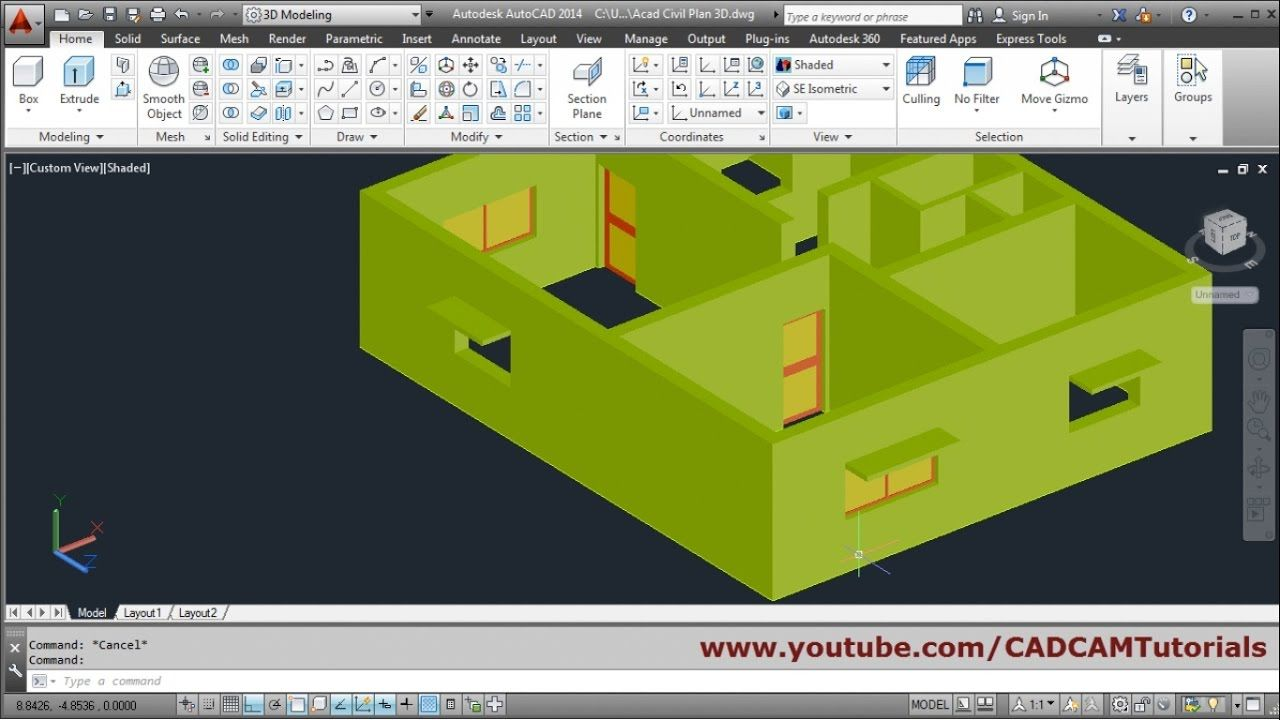 Autocad 3d House Modeling Tutorial Beginner Basic 2 Autocad Tutorial Autocad Tutorial