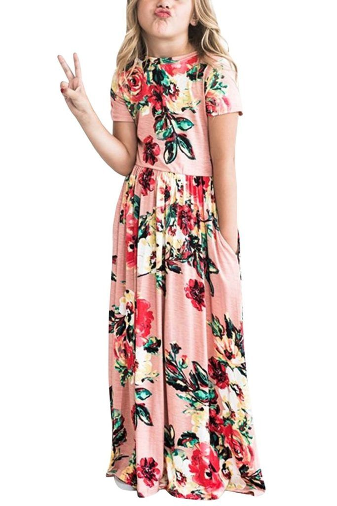 Baby Girls Dresses Toddler Floral Sleeveless Casual Summer Swing Long Maxi  Dress with Pockets