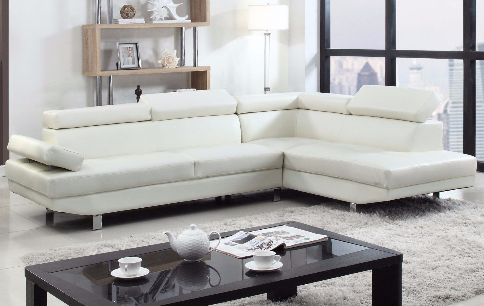 Albert Modern Bonded Leather Sectional With Right Chaise White