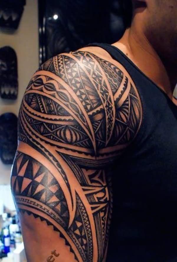 Black Tribal Shoulder Half Sleeves Tattoo My Baby Tattoos