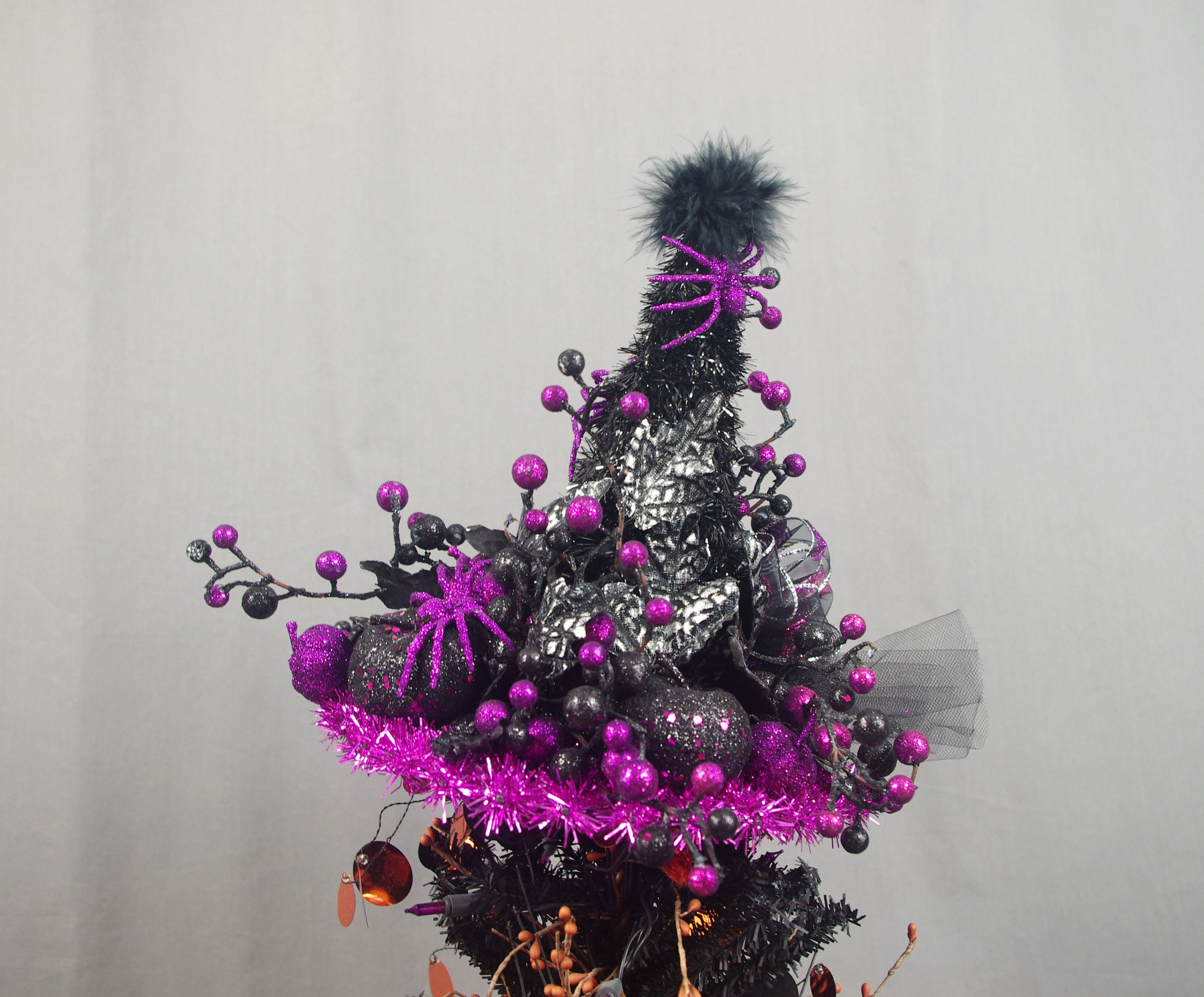 Hot Pink and Black Tree Topper Halloween Decoration Witch