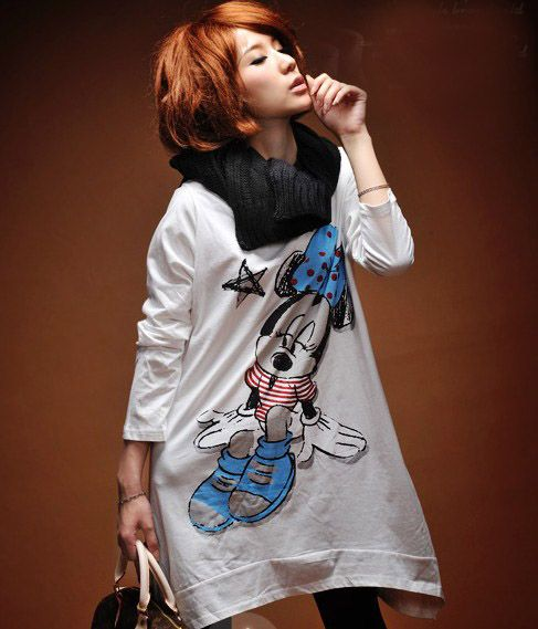 $9.99 Long Sleeve Mickey Graphic Long T-shirt, fashion, women fashion,cute,gofavor,t-shirt,beautiful, stylish.