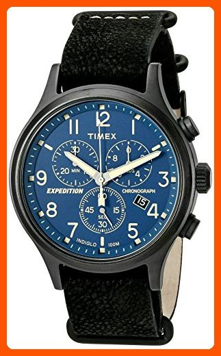 80a473eb5 Timex Men's TW4B04200 Expedition Scout Chrono Black/Blue Leather Slip-Thru  Strap Watch - Mens world (*Amazon Partner-Link)