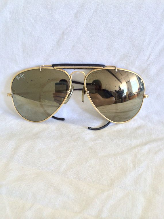 234eed7e2 1960s Ray Bans Aviator RARE Sunglasses Bausch Lomb on Etsy, $220.00