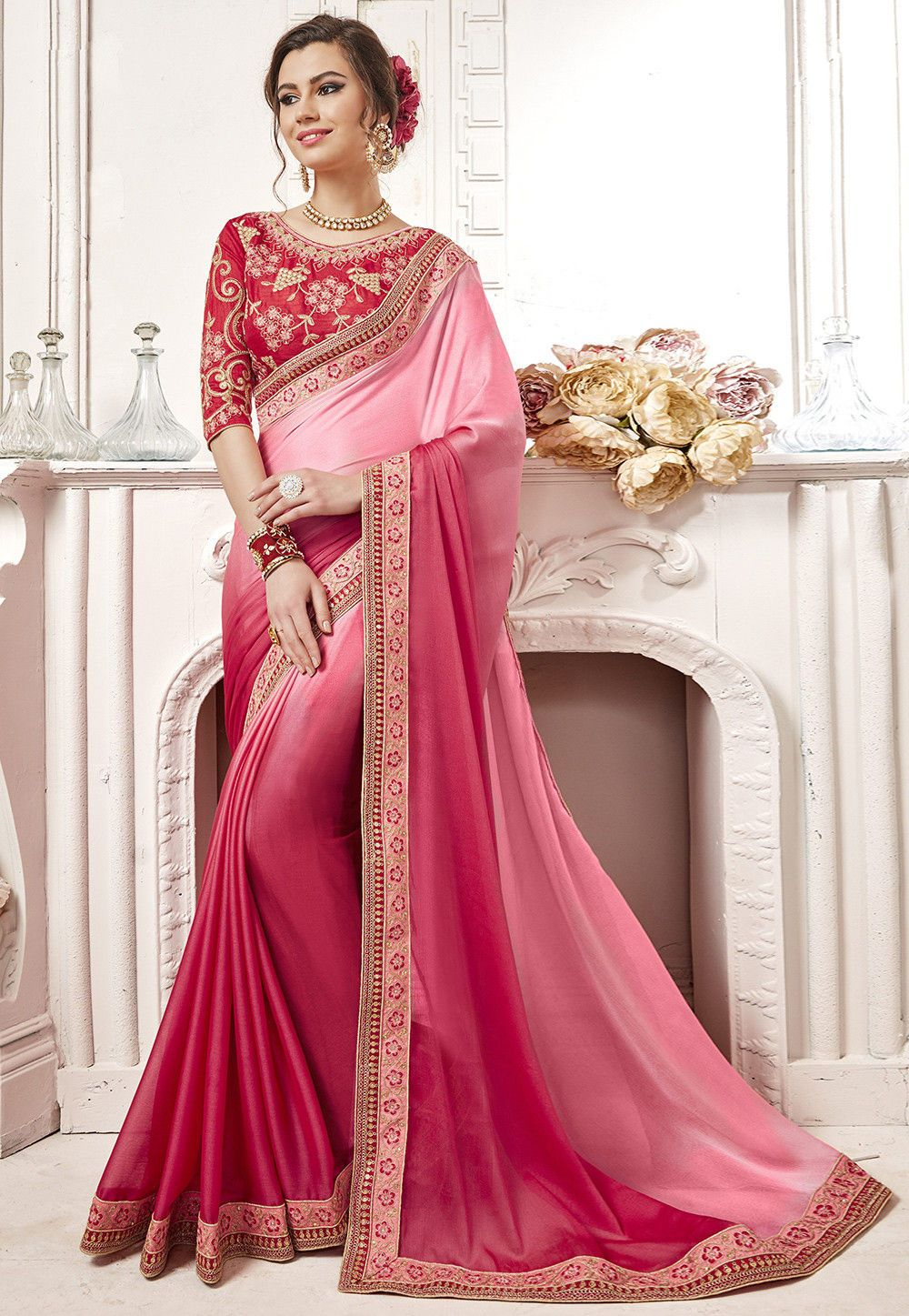 265ea526c5bfed Buy Ombre Satin Chiffon Saree in Pink Ombre online, Item code: SKK22824,  Color: Pink, Occasion: Party, Work: Contemporary, Resham, Stone Work, Zari,  ...