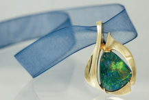 Cheryl Burchell original, Idaho opal set in gold, amazing photography by Chris Guibert
