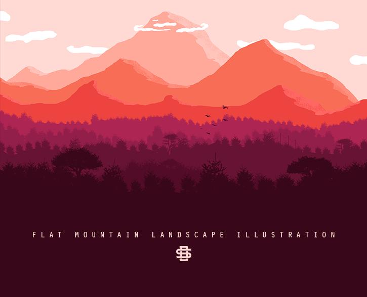 Flat Mountain Landscape Illustration On Behance Landscape Illustration Mountain Illustration Landscape Concept