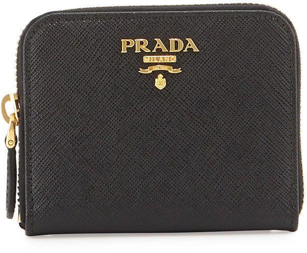 c400e1371e6414 Prada Saffiano Mini Leather Wallet, Black (Nero)   Bags!   Leather ...