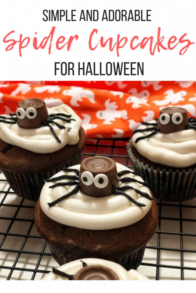 Chocolate Caramel Spider Cupcakes #halloweencupcakes