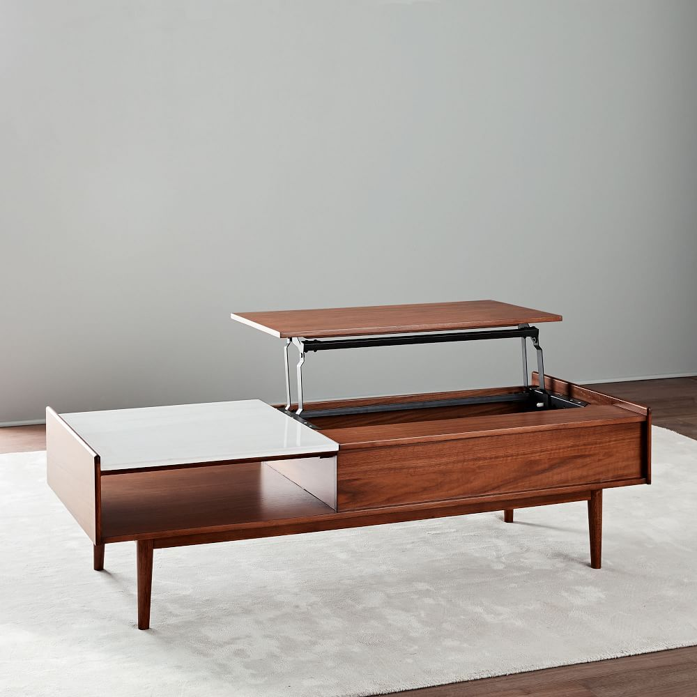 Midcentury popup storage coffee table walnut large for our