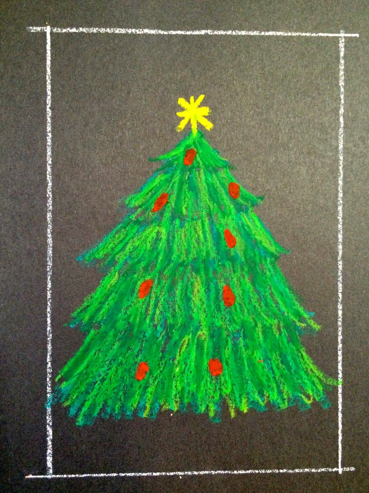 Kathy S Angelnik Designs Art Project Ideas Oil Pastel Christmas Tree In A Snowstorm Christmas Tree Drawing Christmas Art Christmas Art Projects