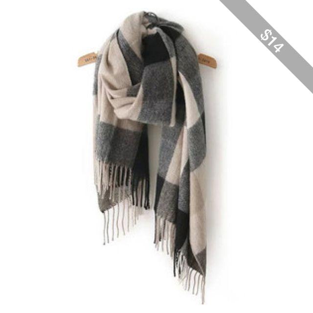 SheIn(sheinside) Black Grey Plaid Tassel Classical Scarve