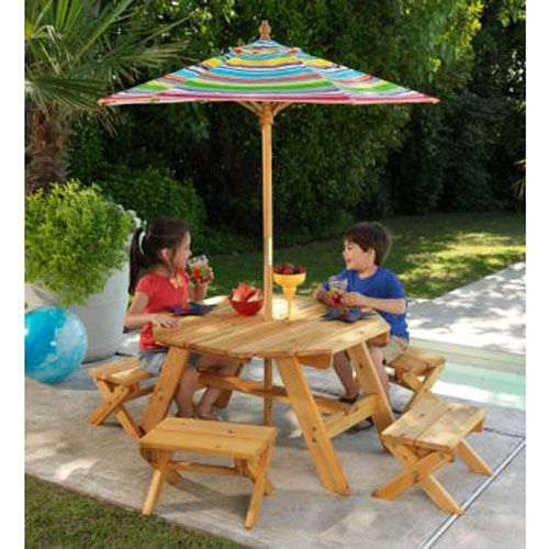 Ordinaire KidKraft Octagon Patio Table And Stools With Striped Umbrella   Kids Picnic  Tables At Hayneedle