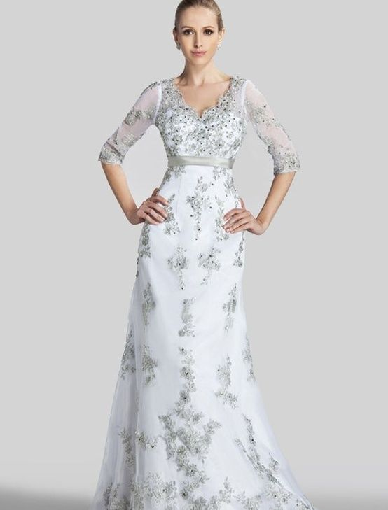 Grey lace wedding dress with V-neck and 3/4 sleeves | Sleeved ...