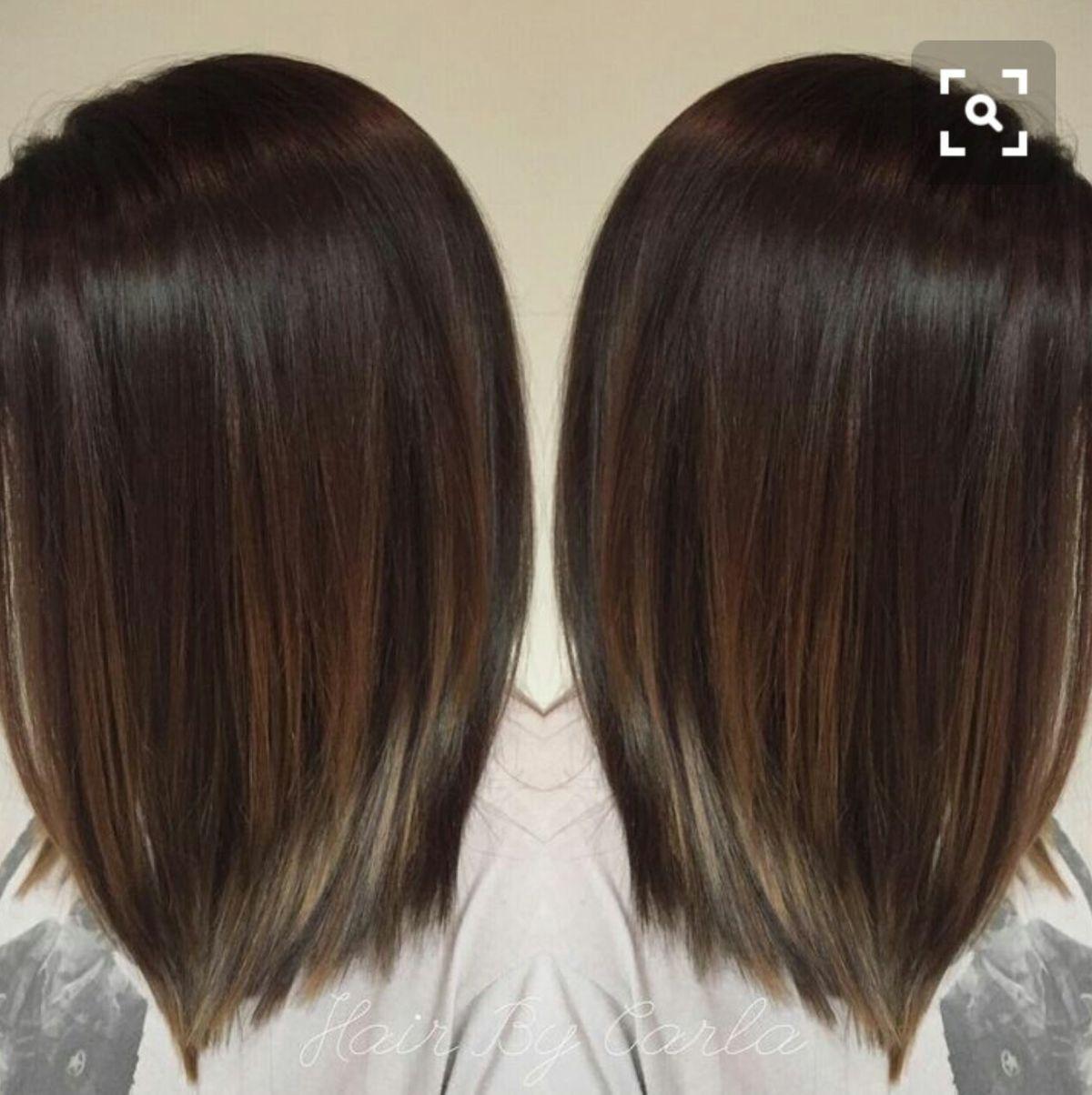 Medium Length Haircut Balayage Straight Hair Brunette Hair