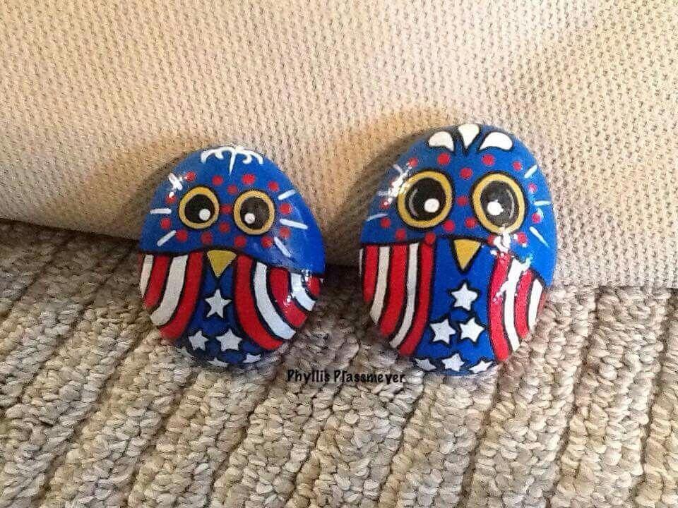 Patriotic Painted Owl Rocks