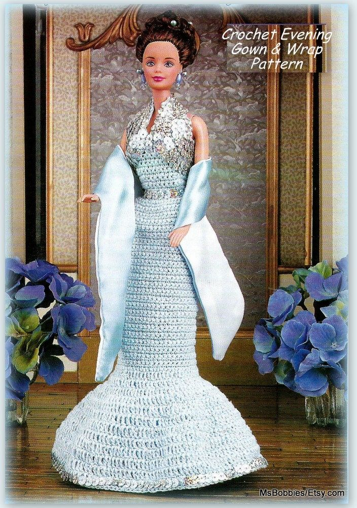Barbie Clothes Pattern - Crochet Evening Gown & Wrap - PDF CR723623 ...