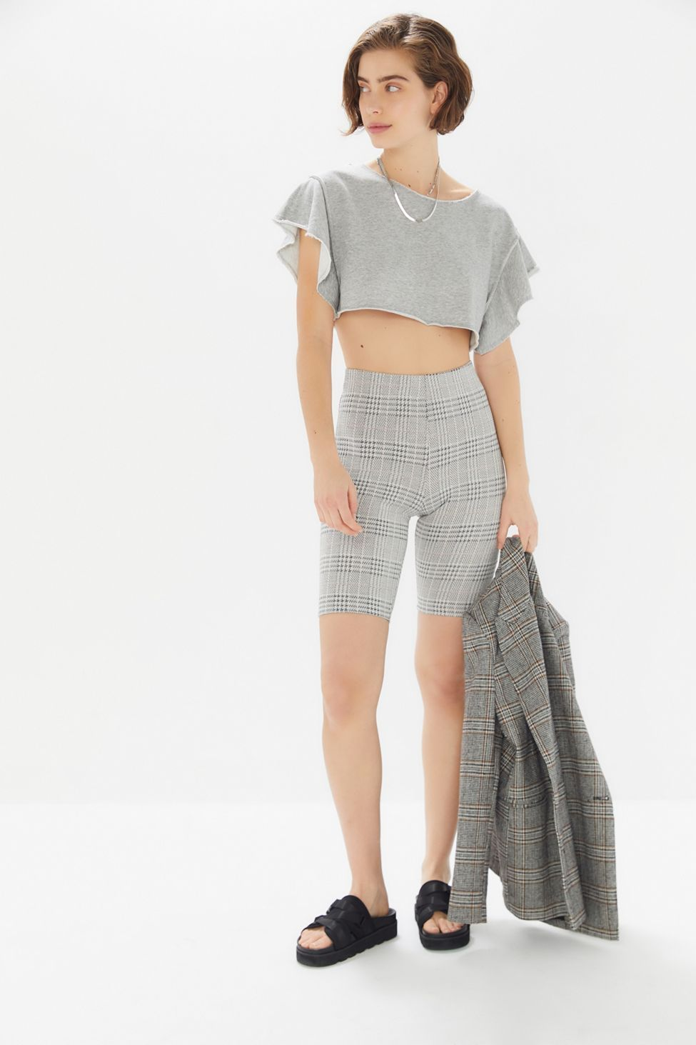 Upcycled Off The Shoulder WhiteGrey Crop Top