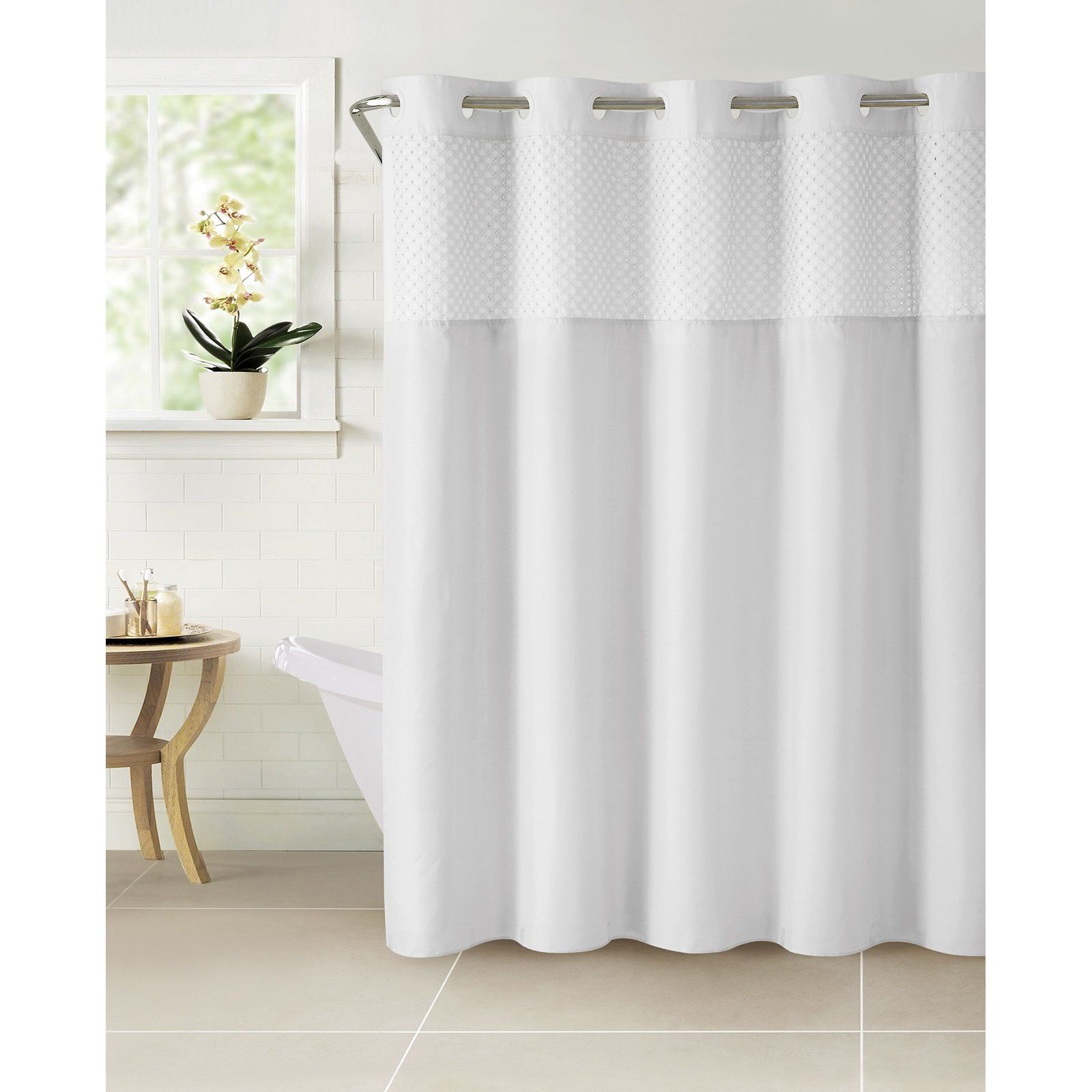 Hookless Bahamas Shower Curtain With Snap On Liner Shower