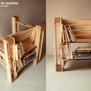 An interesting concept for this chair with integrated bookcases on the back and all made with recycled pallets.