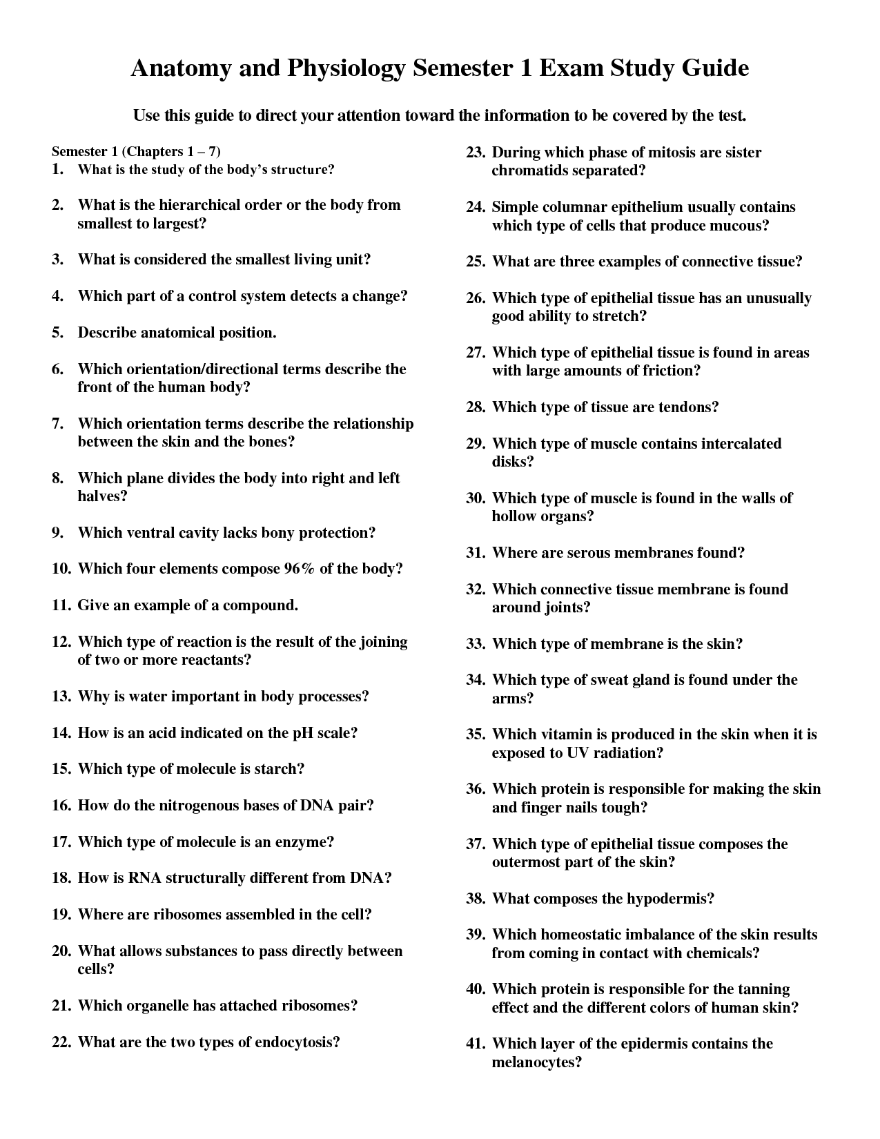 Anatomy And Physiology Study Worksheet