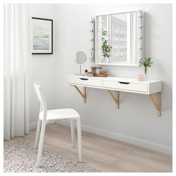 EKBY ALEX / EKBY VALTER Wandregal mit Schubladen - weiß, Birke - IKEA #allwhiteroom