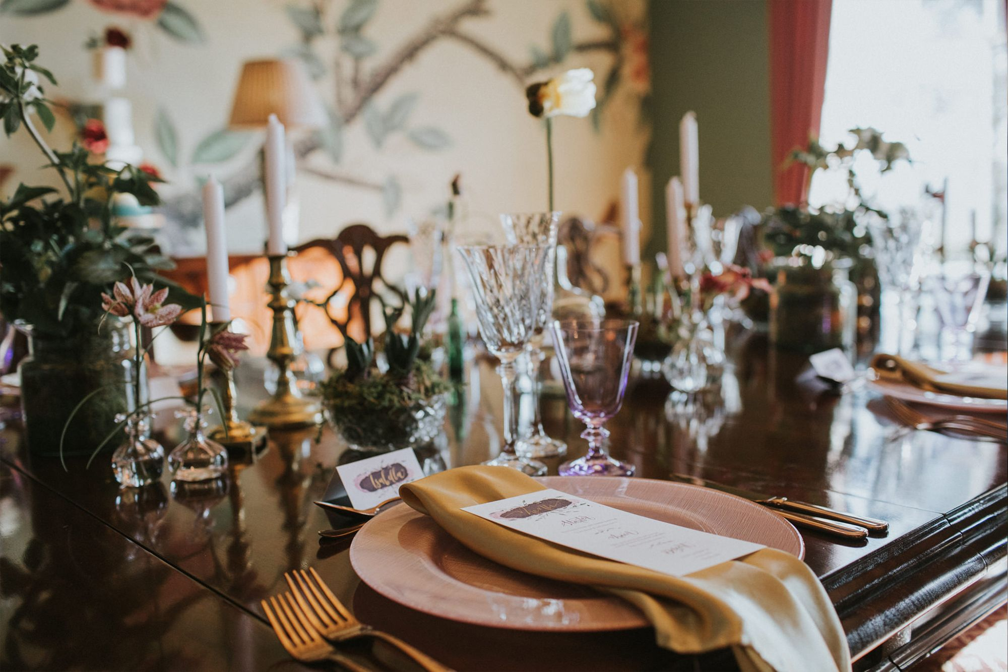 Dining Room at Garthmyl Hall. Photo by Rocksalt Photography. Delirium Calligraphy, wall mural ...