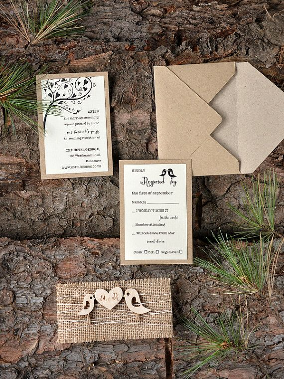 Custom listing 20 Rustic Wedding Invitation por forlovepolkadots