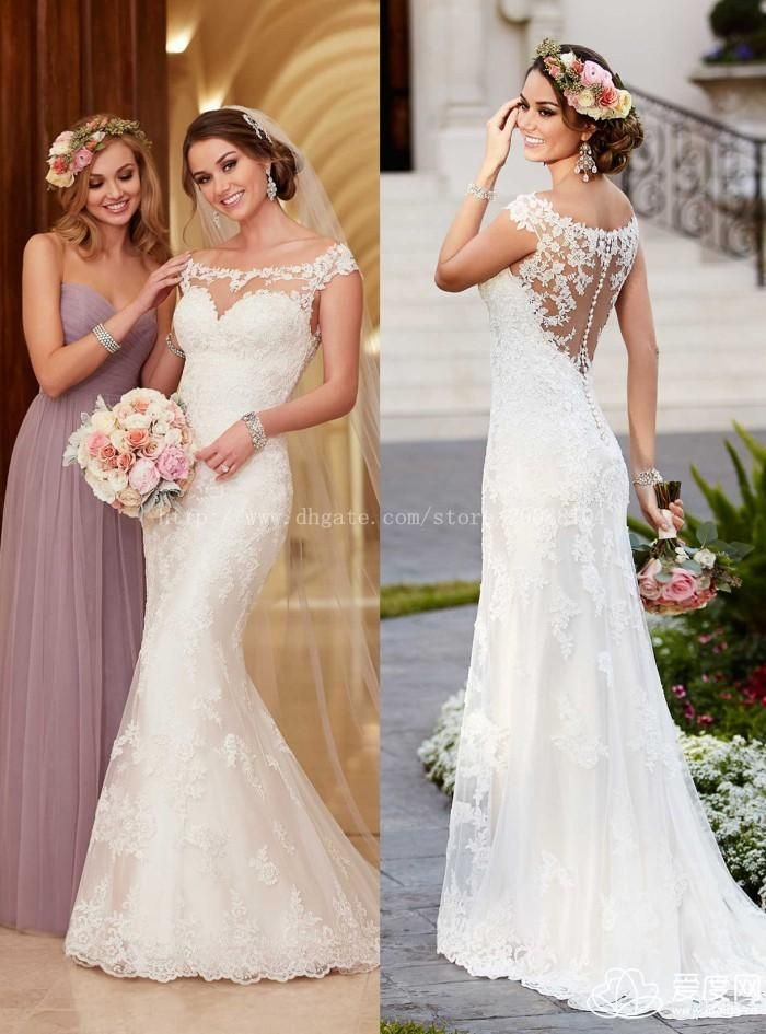 2015 Sexy Sheer Neckline Mermaid Wedding Dresses 2015 Ivory Sheer Tulle Embroidery Mermaid Vestidos De Novia 2015 Party Dresses Online with $142.2/Piece on Imonolisa's Store | DHgate.com