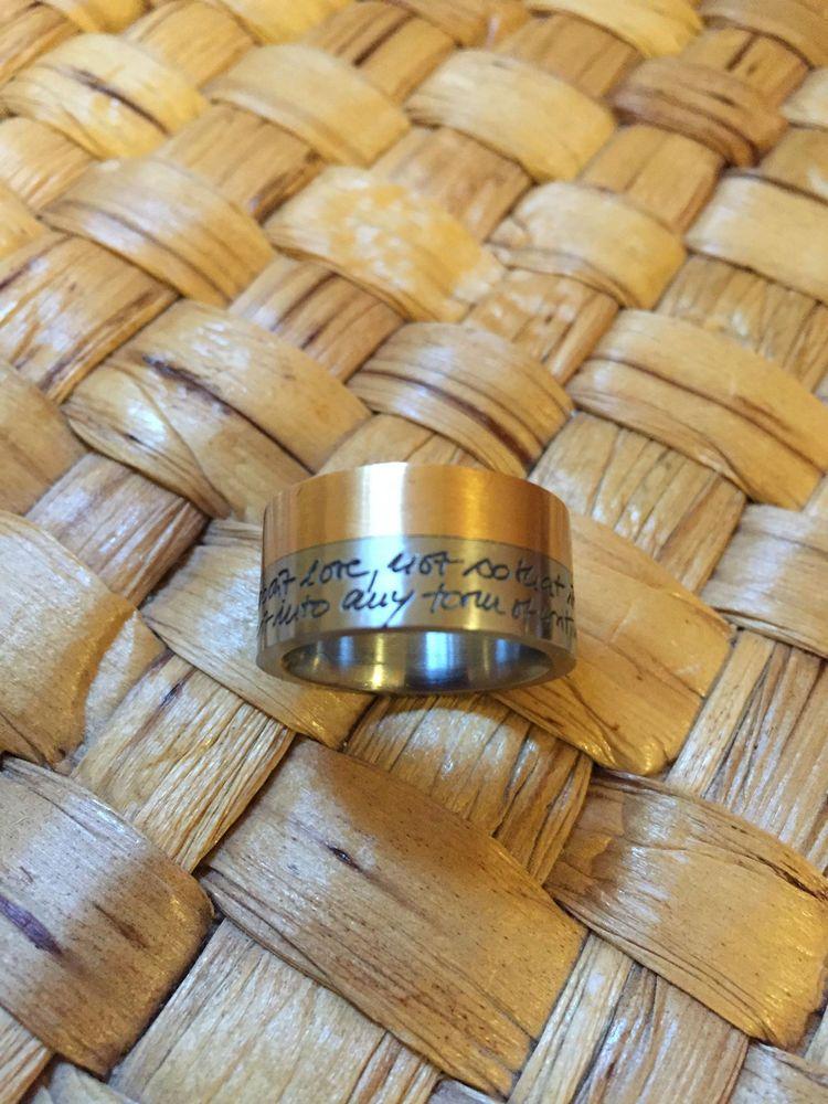Ring 750`Goldeinlage, Gravur Gedicht, Edelstahl, selten  | eBay