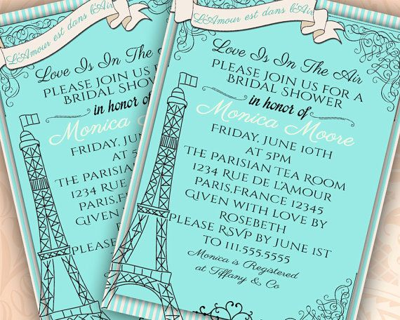 Paris Bridal Shower Invitation French Theme by Hottomatoink2