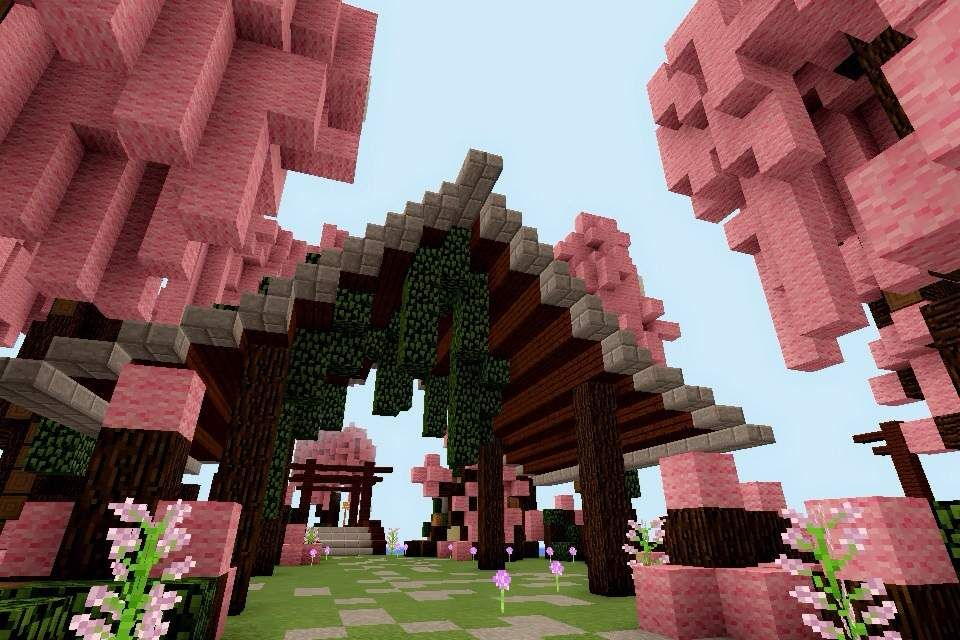 Would 39 Nt It Be Nice If Theres A Cherry Blossom Park In Minecraft So I Did One Yayayayay Becau Minecraft Cottage Minecraft Blueprints Minecraft Architecture