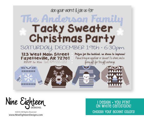 Tacky Sweater Christmas Party invitation by NineEighteenHolidays