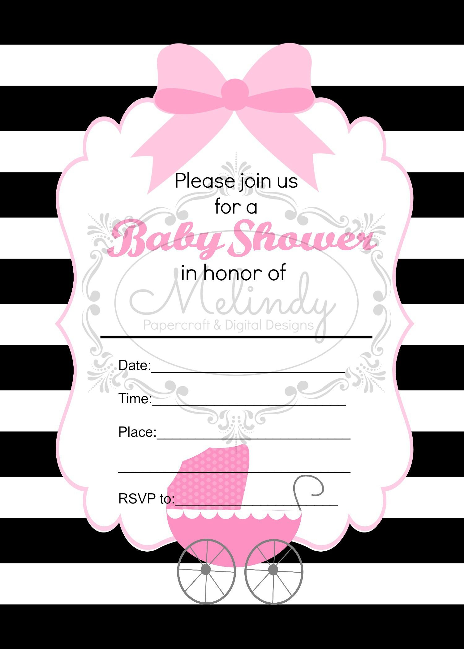 Baby Buggy Girl Fill In The Blank Shower Invitation