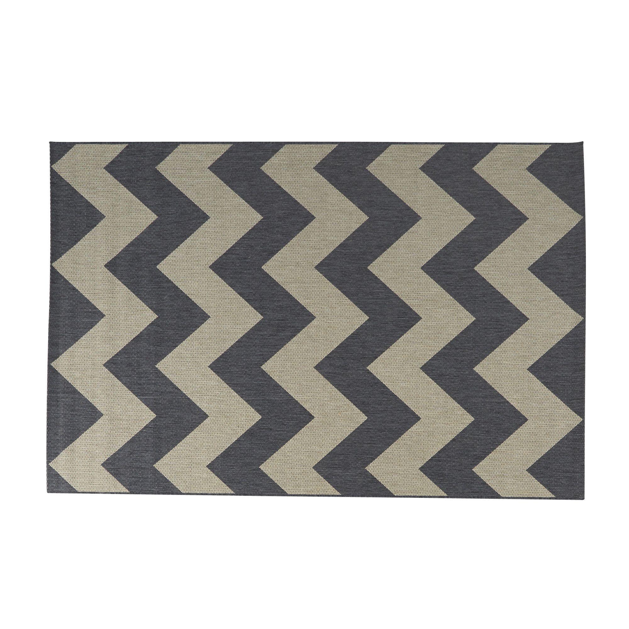 tapis ext rieur et int rieur 140x200cm gris anthracite ikat les tapis moyens tapis pour. Black Bedroom Furniture Sets. Home Design Ideas