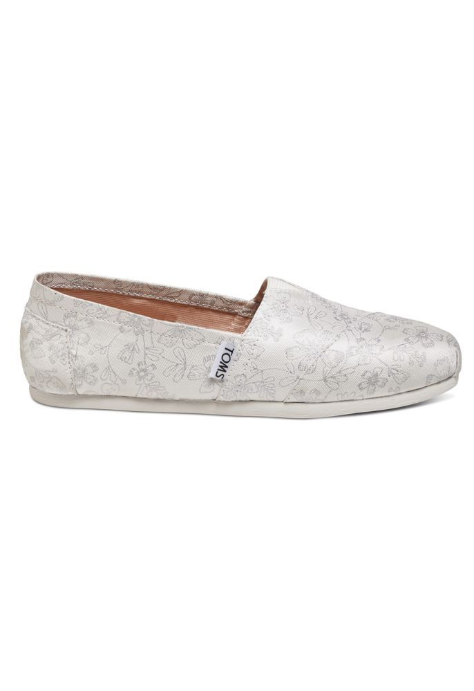 Toms Metallic Floral Jacquard Classic Slip On Shoe David S Bridal Bridesmaids Heels Toms Shoes Outfits Dress Shoes Womens