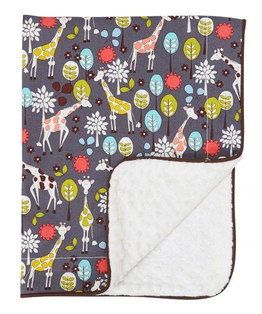 Baby Blanket in Giraffe Garden on White Dimple Dot Minky - Great Travel Blanket