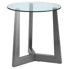 """Glass-topped end table with metallic birch wood base.   Product: End tableConstruction Material: Birch and glassColor: Metallic silverFeatures: Contemporary styleDimensions: 25"""" H x 24"""" Diameter"""