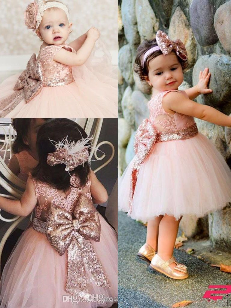 Cute short wedding dresses  Cute Short Pink Flower Girl Dress with Bow  pretty hand made tutu