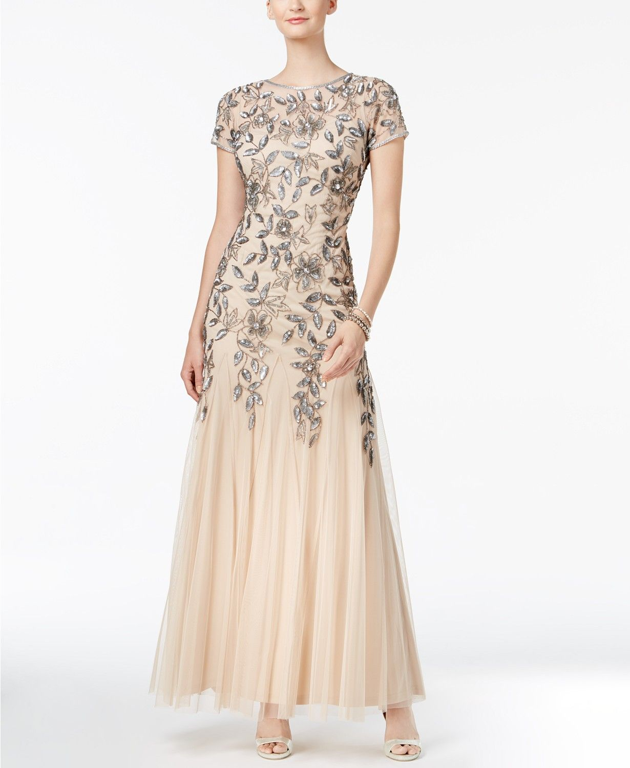 Adrianna Papell Floral Beaded Gown Reviews Dresses Women Macy S In 2020 Beaded Gown Mother Of Groom Dresses Petite Evening Gowns