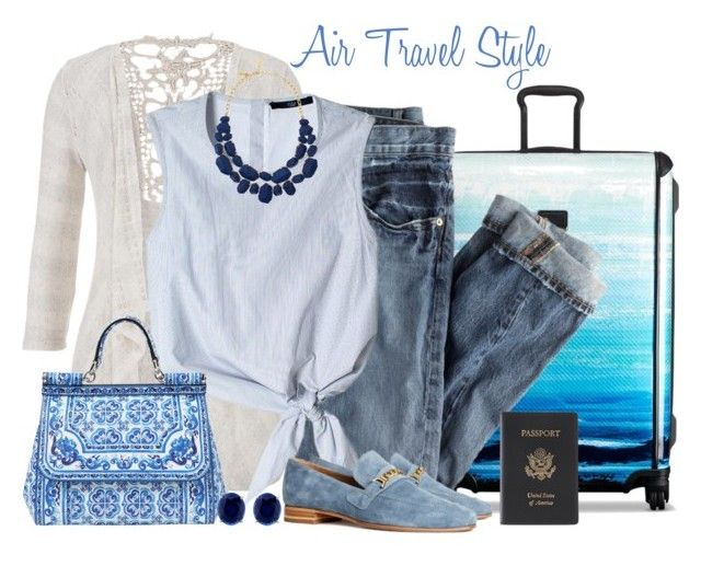 """""""Air Travel Style"""" by luluchella ❤ liked on Polyvore featuring Tumi, J.Crew, maurices, TIBI, H&M, Dolce&Gabbana, Kate Spade, CARAT* and Royce Leather"""