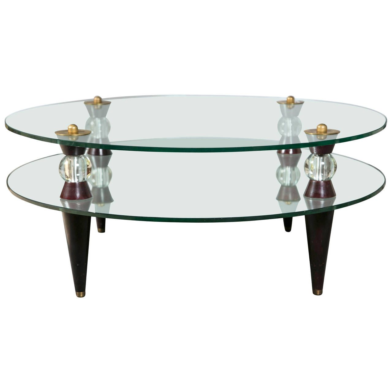 Art deco glass and mirror coffee table midcentury modern