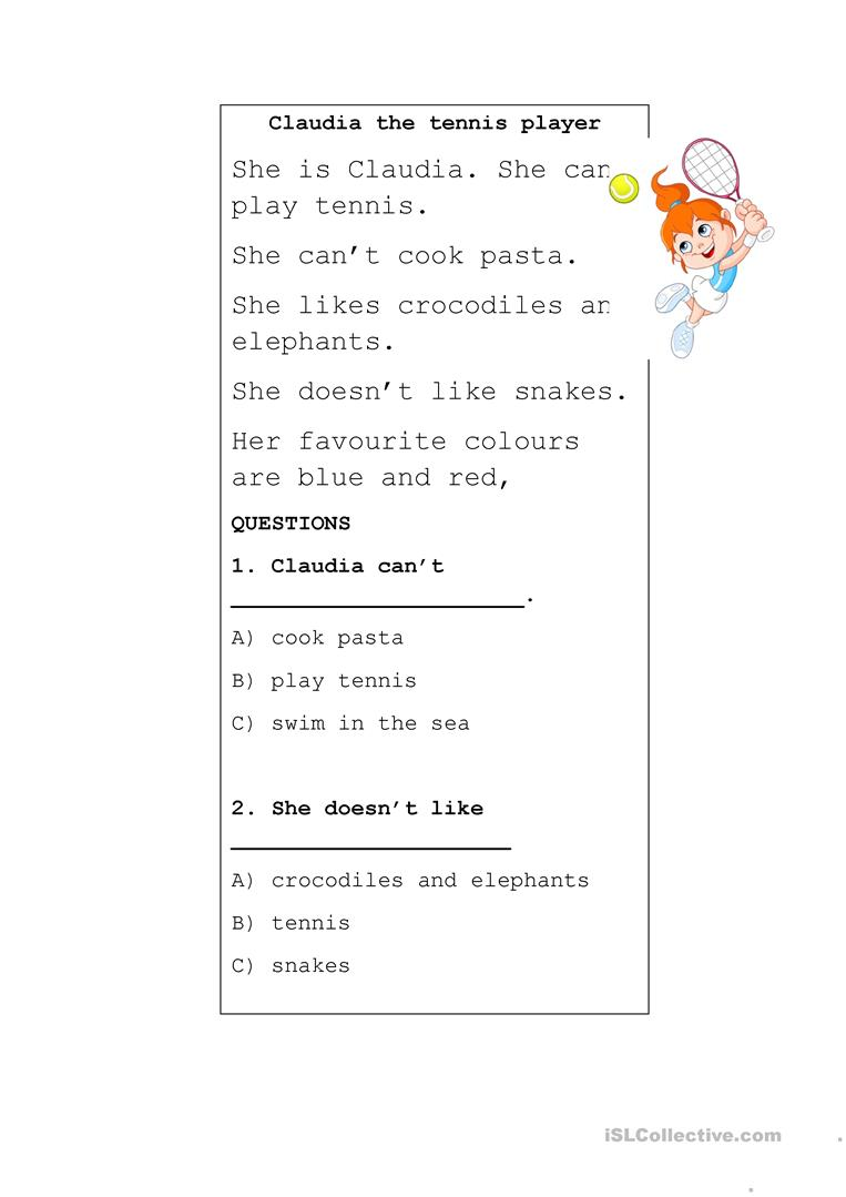 Reading Comprehension Claudia The Tennis Player English Esl Worksheets Reading Comprehension Comprehension Reading Skills [ 1079 x 763 Pixel ]